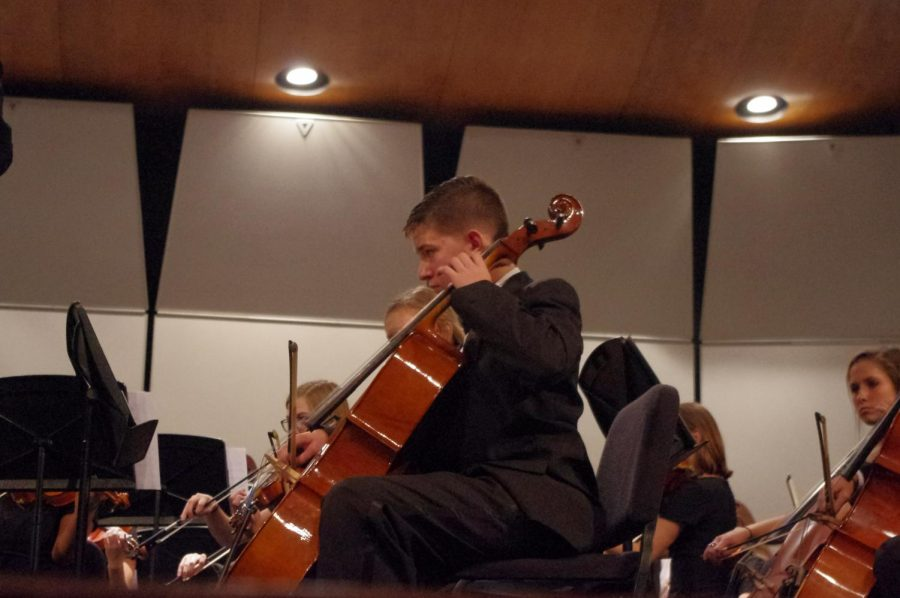 Freshman AJ Lombardi playing the cello in the Chamber Orchestra at their fall concert on 10/17