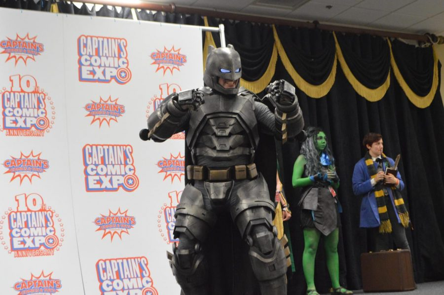 A cosplayer posing for the judges as Armored Batman from the movie, Batman VS. Superman: Dawn of Justice