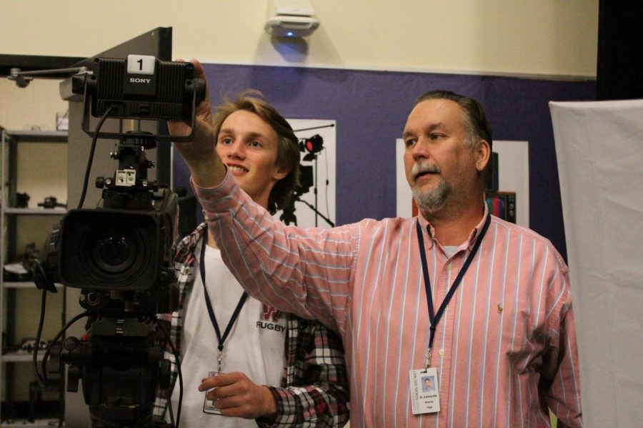 David Lemack works on cameras, preparing for the next Tribe Talk Production.