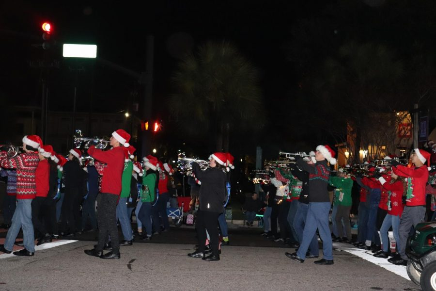 The Wando Band marches in the Christmas parade