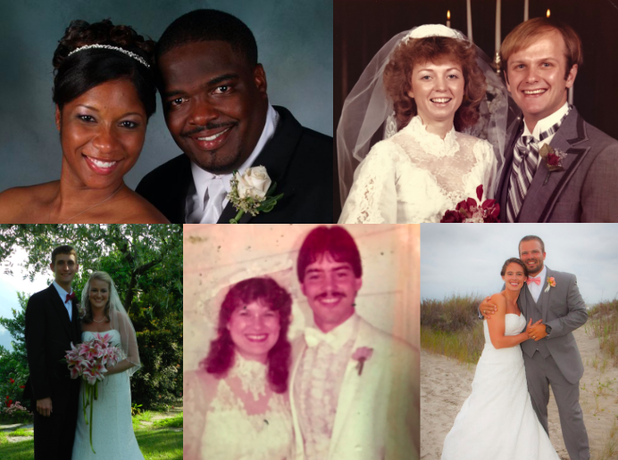 Faculty couples on their wedding days.