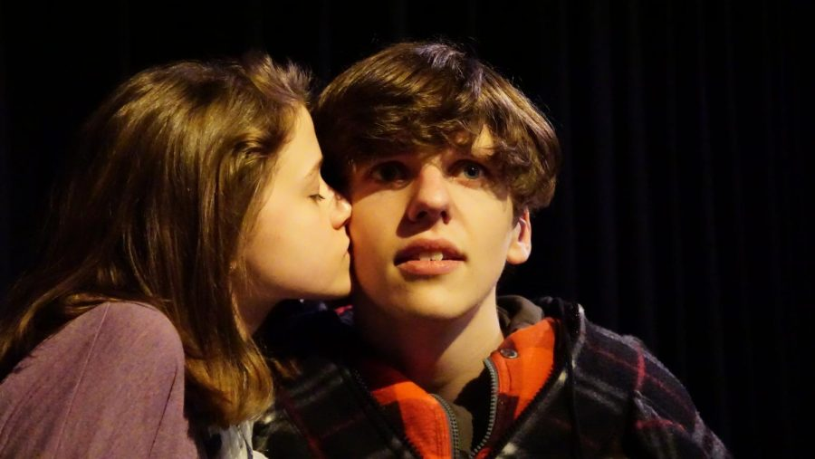 Sophie Rees kisses Parker Jackson while practicing their scenes.