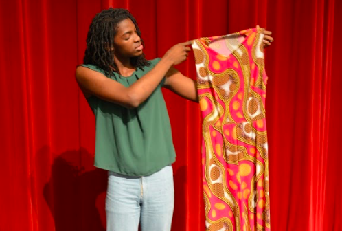 Cameron  Washington shows off her impressive cloth creations.