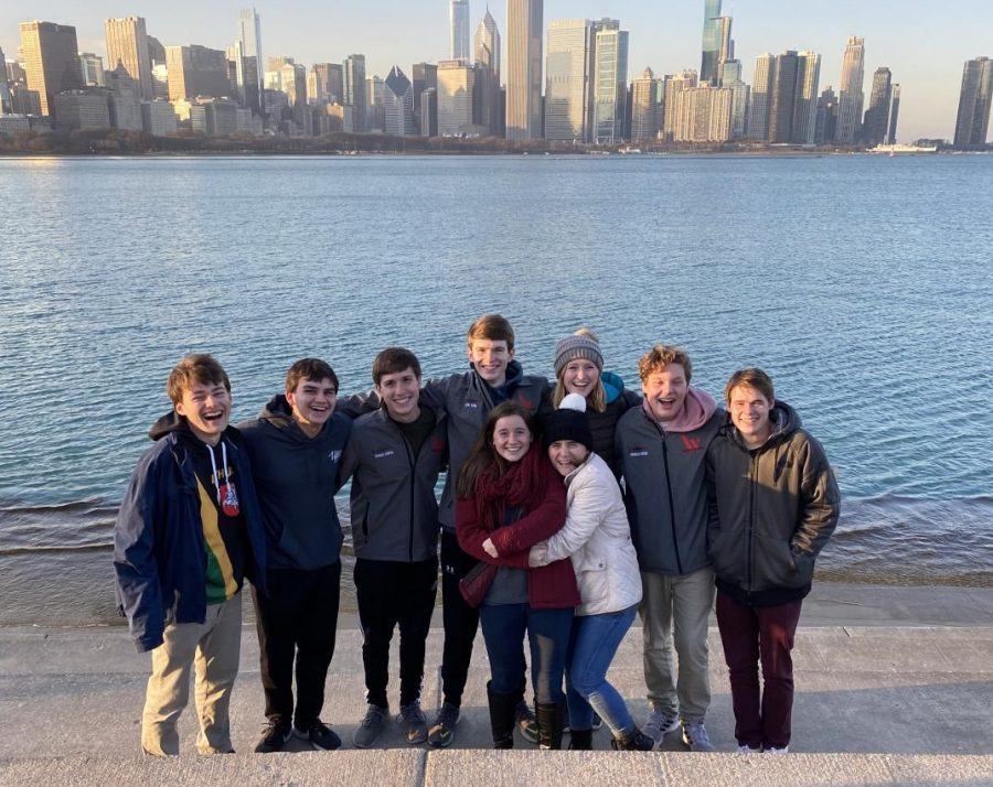 Wando Band students   Tyler Furches, Ben Karinshak, Charlie Cooper, John King, Tess Abrams, Caroline Haigh, Madeline Davis, Brendan Breen, Tyler Saxton stand in front of the scenic view of Chicago. (Left to Right).