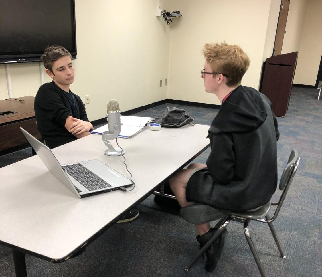 Seniors Ryan Brennan(Right) and Thomas Di'Marco(Left) have a heated debate about the current USA and Iran relations.