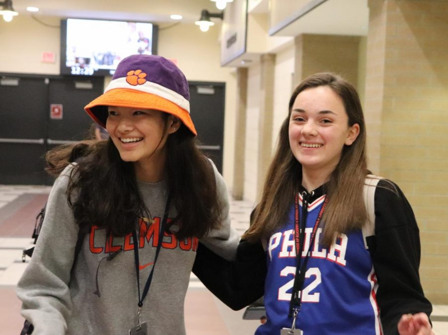 """I grew up in the Philadelphia area, so you know, we just all love basketball, and we all- it's just something we can all bond over so I think moving down south was definitely that something that I like I carried with me.""  Sophomore Olivia Spuler said. (Pictured left to right are Sophomores Audrey Cooper and Olivia Spuler)."