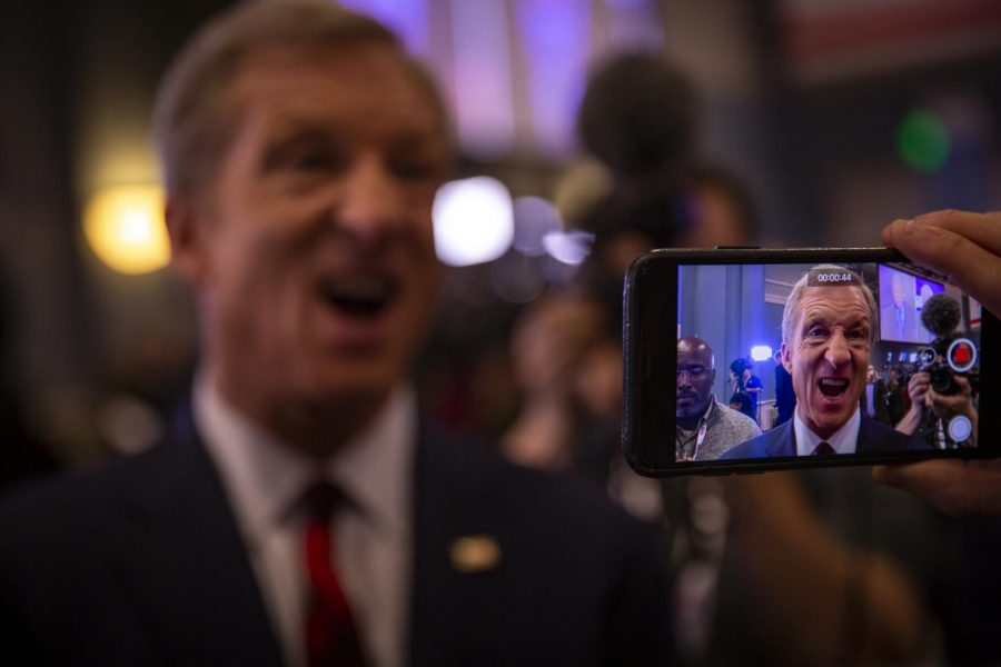 Presidential+Candidate+Tom+Steyer+speaking+to+reporters+in+the+spin+room+after+the+debate.