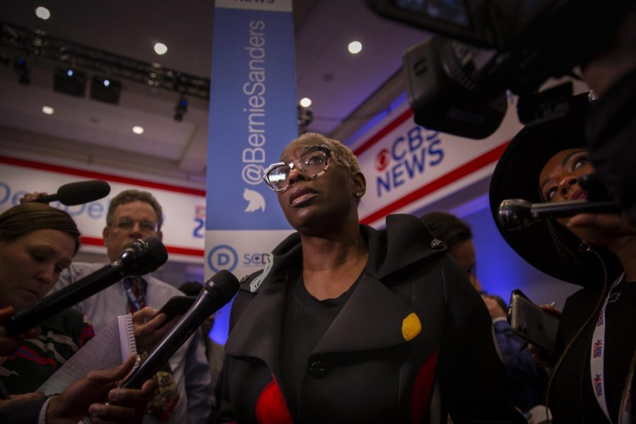National co-chair of Bernie Sanders campaign and surrogate speaker Nina Turner answering questions after the debate.