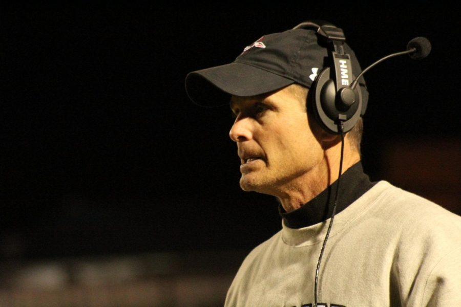 Wando football Head Coach Jimmy Noonan paces the sidelines against James Island Nov. 1. The Warriors topped the Trojans 18-0.