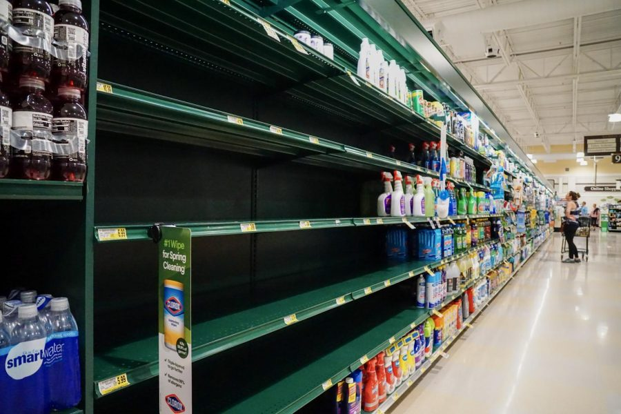 Shelves+containing+hand+sanitizer+and+household+cleaners+were+empty+at+Harris+Teeter+March+15.
