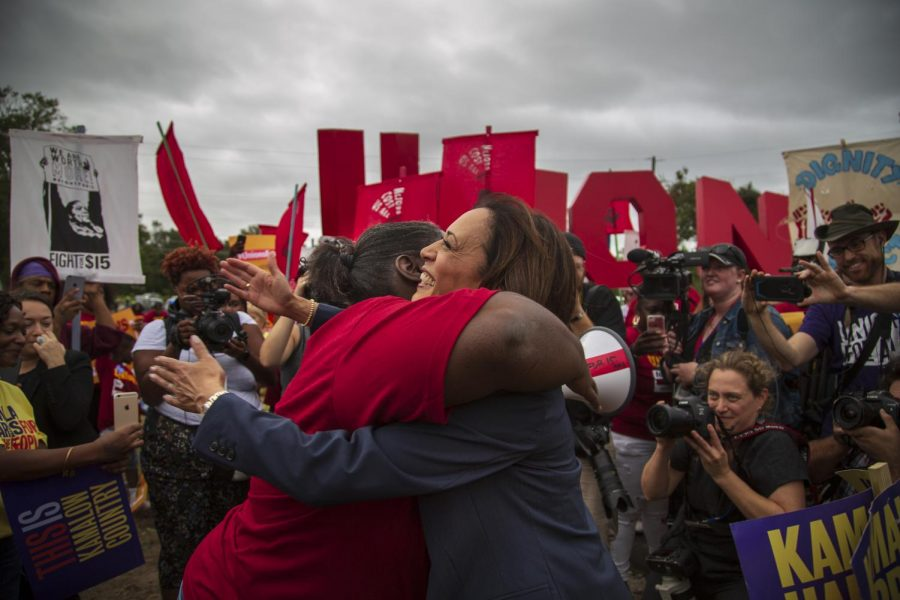 Presidential+candidate+Kamala+Harris+hugs+Fight+for+%2415+marcher+Taiwan+Milligan%0A