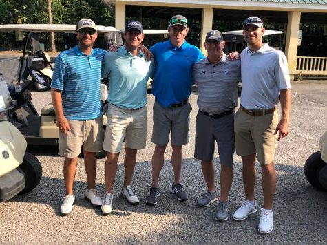 From left to right: Former Wando Golf player, Former Wando Football players Michael Paul, Michael Flint, Coach Hayes, and Sullivan Williams at a golf tournament two years ago.