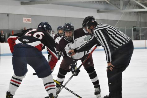 Senior Adam VanArsdelen in a face off with Stratford on Oct. 23