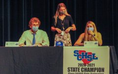 Swimmers, Matthew Gush (left) and Estelle Baurer (right) both signed with Nova Southeastern University.