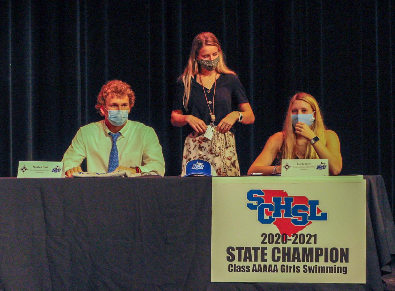 Swimmers, Matthew Gush (left) and Estelle Baurer (right) both signed with Nova Southeastern University.