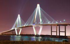 Charleston's Arthur Ravenel Jr. Bridge brightens up the cloudy winter sky on Feb. 8, 2021.