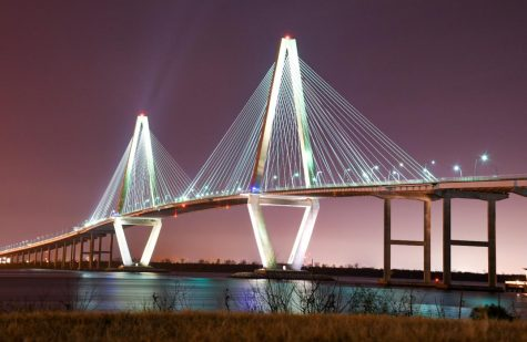 Charleston's Arthur Ravenel Jr. Bridge brightens up the cloudy winter sky on Feb. 8, 2021.