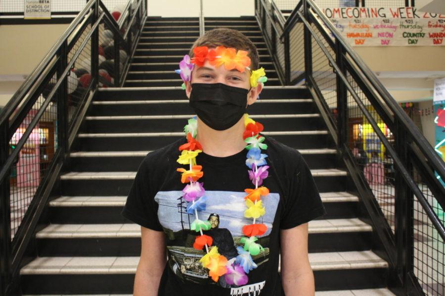 John Hermans is wearing his Hawaiian outfit for Wando school spirit week.
