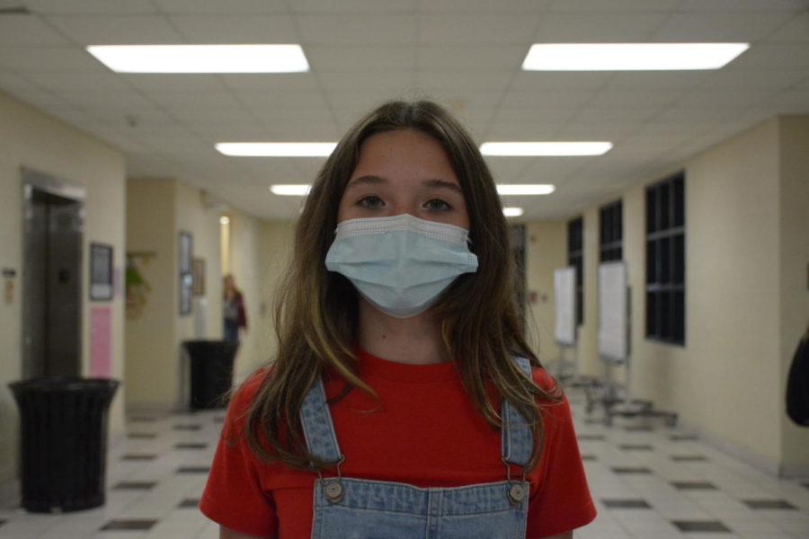 Freshman Shaela Oliver participated in school spirit week by dressing up for denim day.