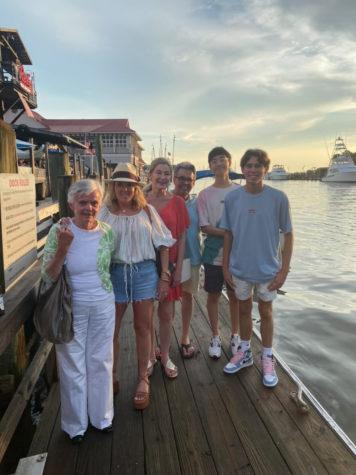 Kim and his family pose on Shem Creek in Charleston.