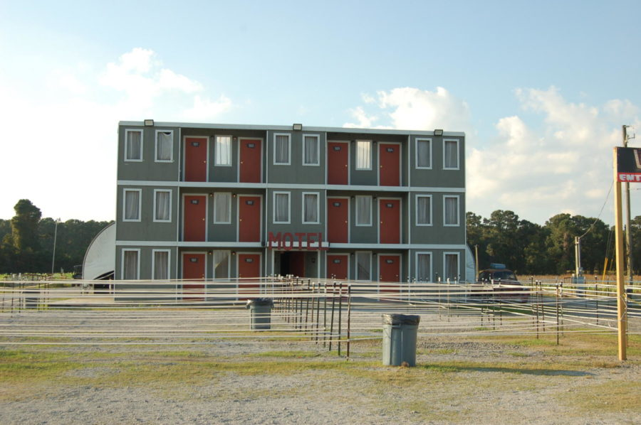 The theme of one of Fright Nights attraction was Motel. This picture embodies the outside of the attraction.