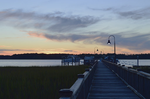 A view of one of Charlestons famous sunsets seen off of the Rivertowne Wando dock.